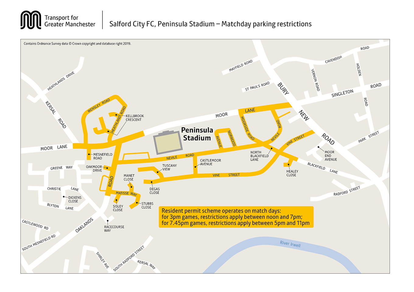 Salford City FC parking restrictions map-1.png